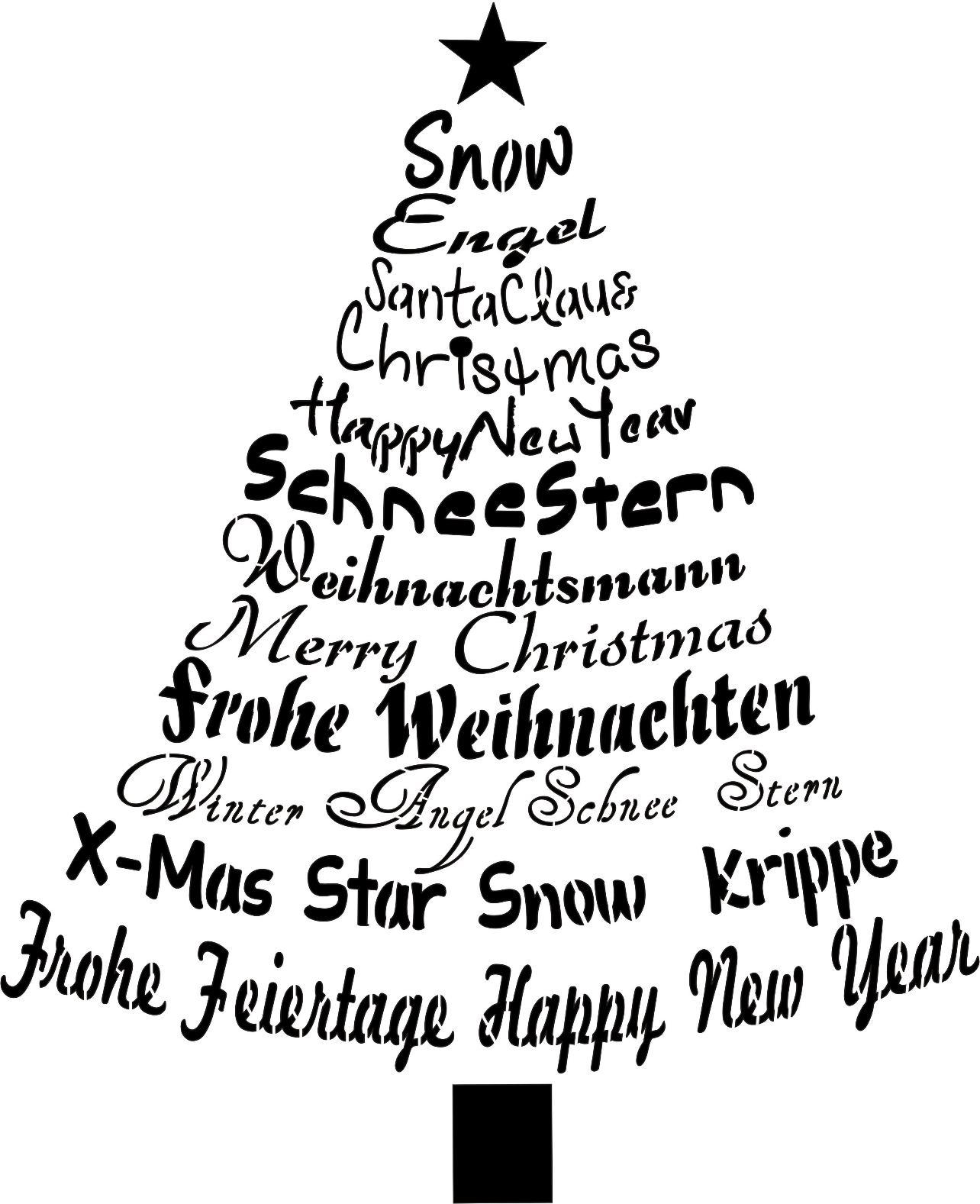 Stencil Schablone Christbaum